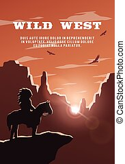Silhouette of an Indian on the background of the wild west....