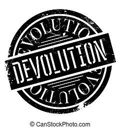 Devolution rubber stamp. Grunge design with dust scratches....