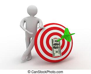 3d man  with target. success concept