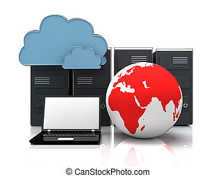 network servers in data center with laptop anf globe . 3d internet concept