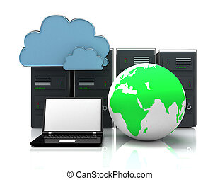 network servers in data center with laptop and globe . 3d internet concept