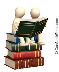 3d puppets, reading the books - Two puppets, reading the...