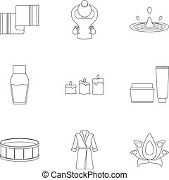 Spa set icons in outline style. Big collection of spa vector...