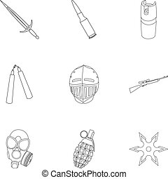 Weapon set icons in outline style. Big collection of weapon...