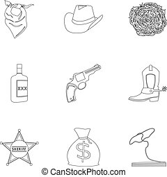 Wild west set icons in outline style. Big collection of wild...