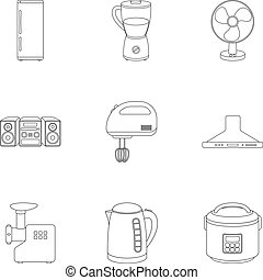 Household appliances set icons in outline style. Big collection of household appliances vector symbol stock illustration