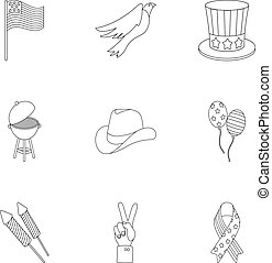 Patriot Day set icons in outline style. Big collection of Patriot Day vector symbol stock illustration