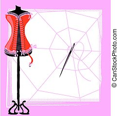 corset, web and craft - abstract image of sewing craft and...