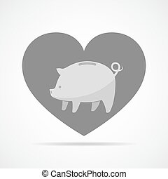 Piggy bank against the background of a heart. Vector...