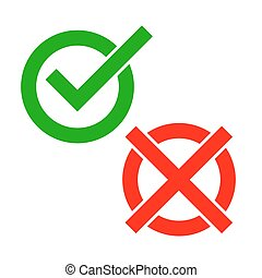 Yes and No check marks. Vector illustration.