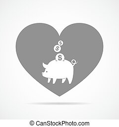 Piggy bank with falling coins. Vector illustration.