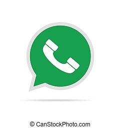 Handset icon on speech bubble. Vector illustration - White...