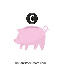 Piggy bank with coin. Vector illustration. - Pink piggy bank...