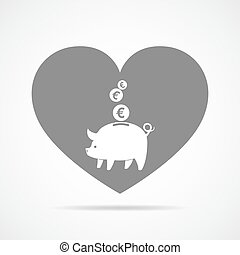 Piggy bank with falling coins. Vector illustration. - Piggy...