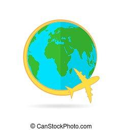 Airplane flying around the globe. Vector illustration -...