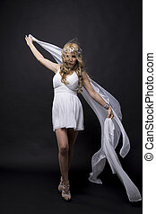 Beautiful greek blonde woman, mythology, dressed in white...