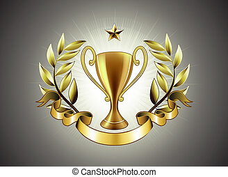 golden Trophy - Vector illustration of golden Trophy with...