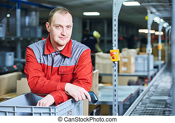 worker with barcode scanner at warehouse