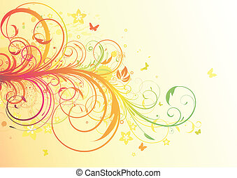 Floral Decorative background - Vector illustration of Grunge...