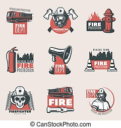 Vintage Fire Protection Logos Set - Vintage fire protection...