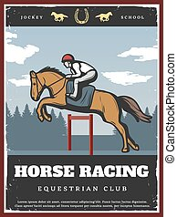 Colorful Equestrian Sport Poster