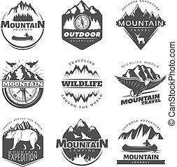 Vintage Mountains Logos Set - Vintage mountains logos set...