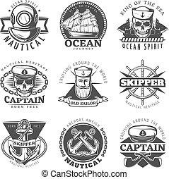 Vintage Sailor Naval Label Set - Black vintage sailor naval...