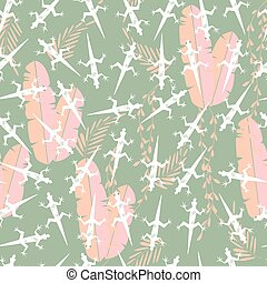 Seamless pattern with cute green rain forest animal gecko...