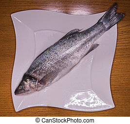 Sea Bass uncooked on plate