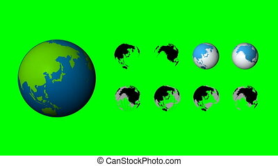 Set of 9 rotate spin global element looped on green screen...