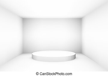 Blank white empty podium for design template pr layout background