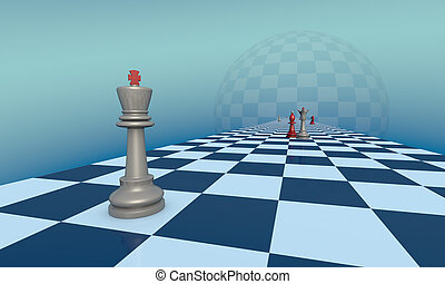 Love and jealousy (chess metaphor). 3D - Chess pieces on a...