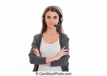 young beauty call office girl with headphones isolated on...