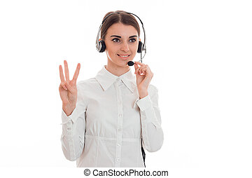 young attractive call office girl in white shirt with...