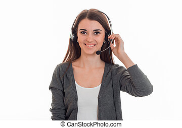 young cheerful call office girl with headphones isolated on...