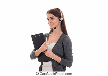 young beauty call office girl with headphones and tablet...