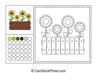 adult coloring book page with colored template, decorative frame and color swatch - vector black and white contour picture - yellow sunflowers growing in garden behind woody fence