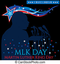 Happy MLK Day - An illustration for MLK Day with waves and...