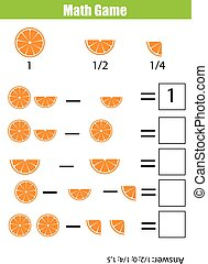 Math educational counting game for children, subtraction...