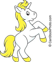 Small white unicorn - Vector illustration of a baby unicorn...