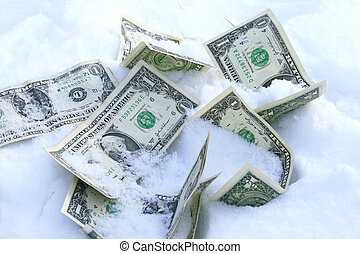 Frozen accounts concept - Dollar bills on the snow concept...