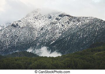 Green slopes of the Taurus mountains covered with snow and...