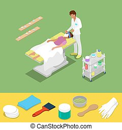 Beauty Salon Isometric Concept. Cosmetologist Applying Facial Mask to the Woman. Vector 3d flat illustration