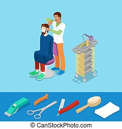 Hair Beauty Salon Barber Makes Man Hairstyle Isometric Concept. Vector 3d flat illustration