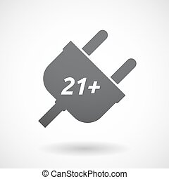 Isolated plug with the text 21+ - Illustration of an...