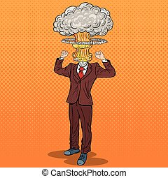 Pop Art Stressed Businessman with Explosion Head. Vector...