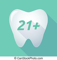 Long shadow tooth with the text 21+ - Illustration of a long...