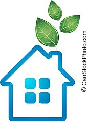 Eco house vector - Eco house with green leaves vector