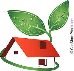 Eco house silhouette, roof and green sprout