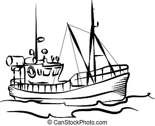 Fishing boat graphic - Fishing boat business silhouette...